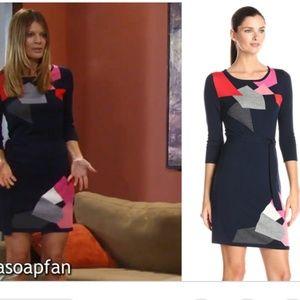 Trina Turk Navy Geometric Wool Sweater Dress